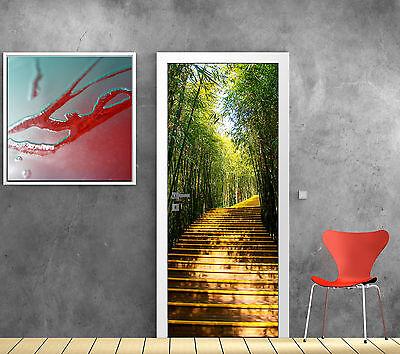 Sticker de porte trompe l'oeil déco Escalier Bambous réf 603