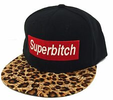 "NEW ""SUPER BITCH"" LEOPARD FLAT BILL SNAPBACK CAP HIP HOP HAT BLACK/LEOPARD"