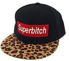 """NEW """"SUPER BITCH"""" LEOPARD FLAT BILL SNAPBACK CAP HIP HOP HAT BLACK/LEOPARD"""