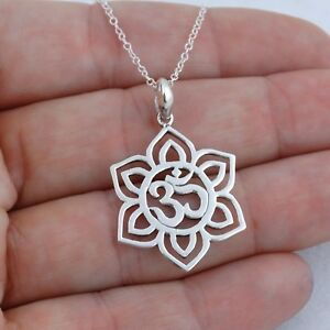 Lotus-Flower-Om-Necklace-925-Sterling-Silver-Namaste-Yoga-Ohm-Symbol-NEW
