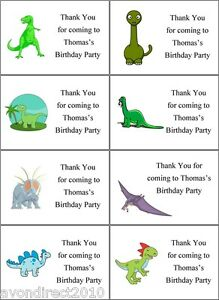 personalised dinosaur party bag labels sweet cone stickers gift