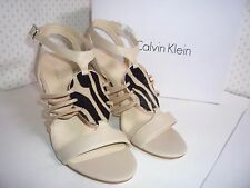 """Calvin Klein Women's Oatmeal Ankle Strap Open Toe 4"""" Wedge Shoes, size 8 NEW"""