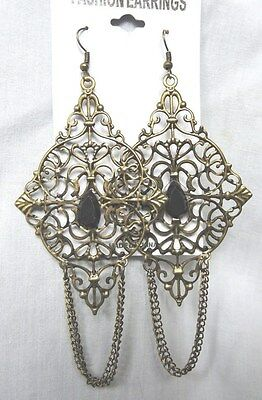 "Bronze colored diamond-shape w/chains 4.5"" long dangle drop earrings"