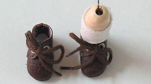 """Chaussures cuir """" Loulotte""""  37/17 Rustique  Brun foncé   pour poupées anciennes"""