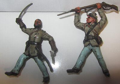 Coppia Soldatini Xiloplasto Sudisti Sciabola Pistola Fucile Gomma Elegante Nello Stile