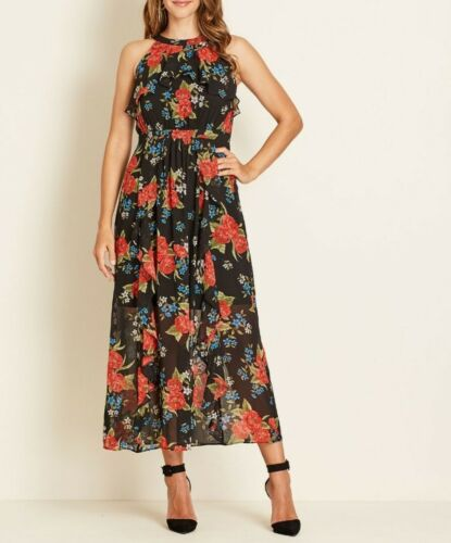 Crossroads Sleeveless Front Frill Black /& Red Floral Maxi Dress Size 16