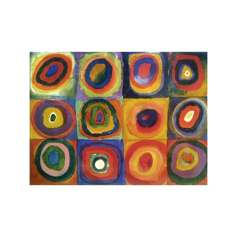 Quadro su Pannello in Legno MDF Wassily Kandinsky Squares with Concentric Circle