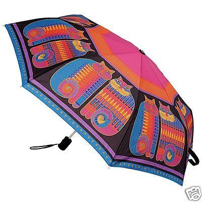 Laurel Burch Fushia Purple Quilted Feline Cats Compact Umbrella Auto Open Close