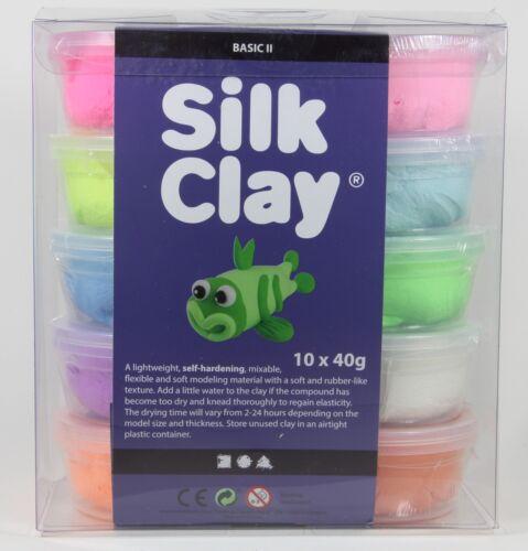 Silk Clay Seidenknete 10x40g Modelliermasse Basic Set II