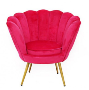Hot Bright Pink Matte Velvet Scallop Accent Occasional