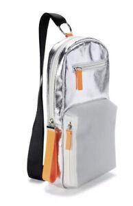 No Boundaries Caden Sling Functional Crossbody Shoulder Bag Silver & Orange 13X7