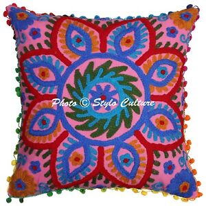 Indian Suzani Fly Bird Embroidered Cushion Cover Cotton Square Throw Pillow Case