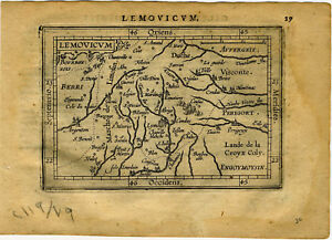 Genuine Antique Miniature Map France Limoges By A Ortelius - Limoges france map