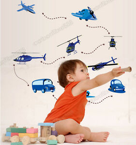 AIRCRAFT-PLANES-BLUE-CARS-Wall-Stickers-Kids-Playroom-Bedroom-Decors-Home-Decals