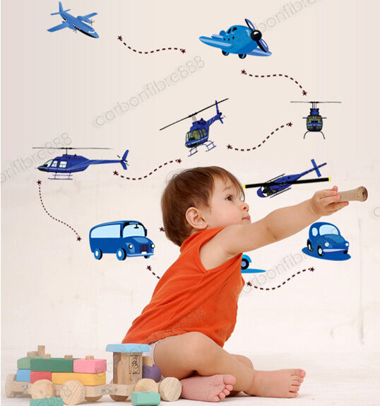 AIRCRAFT PLANES BLUE CARS Wall Stickers Kids Playroom Bedroom Decors Home Decals