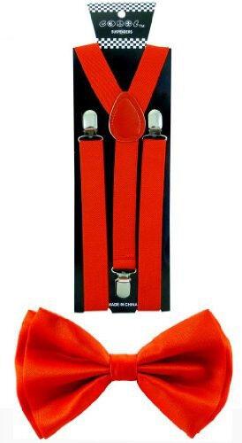 Adult Red SUSPENDERS and BOWTIE COMBO SET Unisex Adjustable Wedding bow tie
