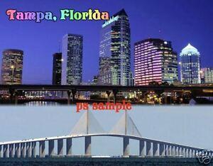 Florida - TAMPA SUNSHINE SKYWAY Travel Souvenir Flexible Fridge Magnet