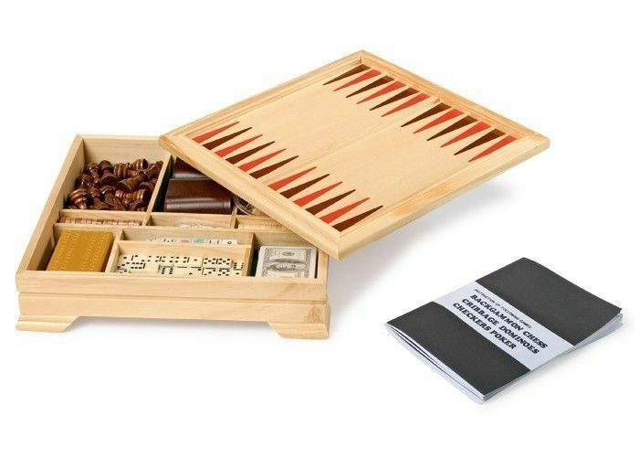 HOCHWERTIGE Spielesammlung Spieleset Holz Spiele Kinder Box Poker Dame Schach