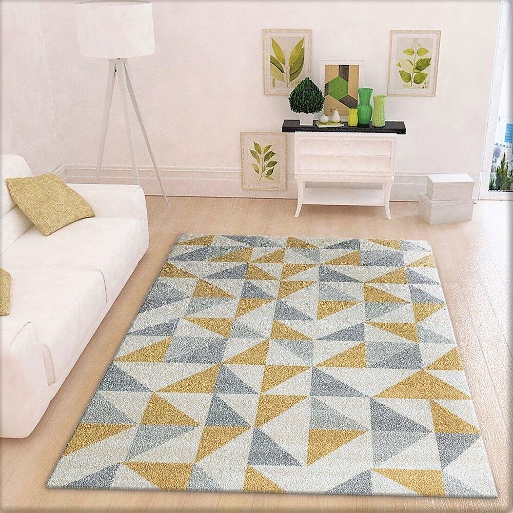 Modern geometricamente Tappeto Crema Coloreeeeei grigio e giallo motivo grande soggiorno