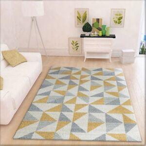 Modern Geometric Rug Cream Grey And Yellow Pattern Carpet