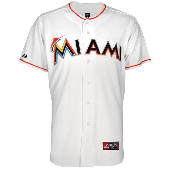 MLB Baseball Home Trikot Jersey MIAMI MARLINS Weiß Home Baseball von Majestic e124b9