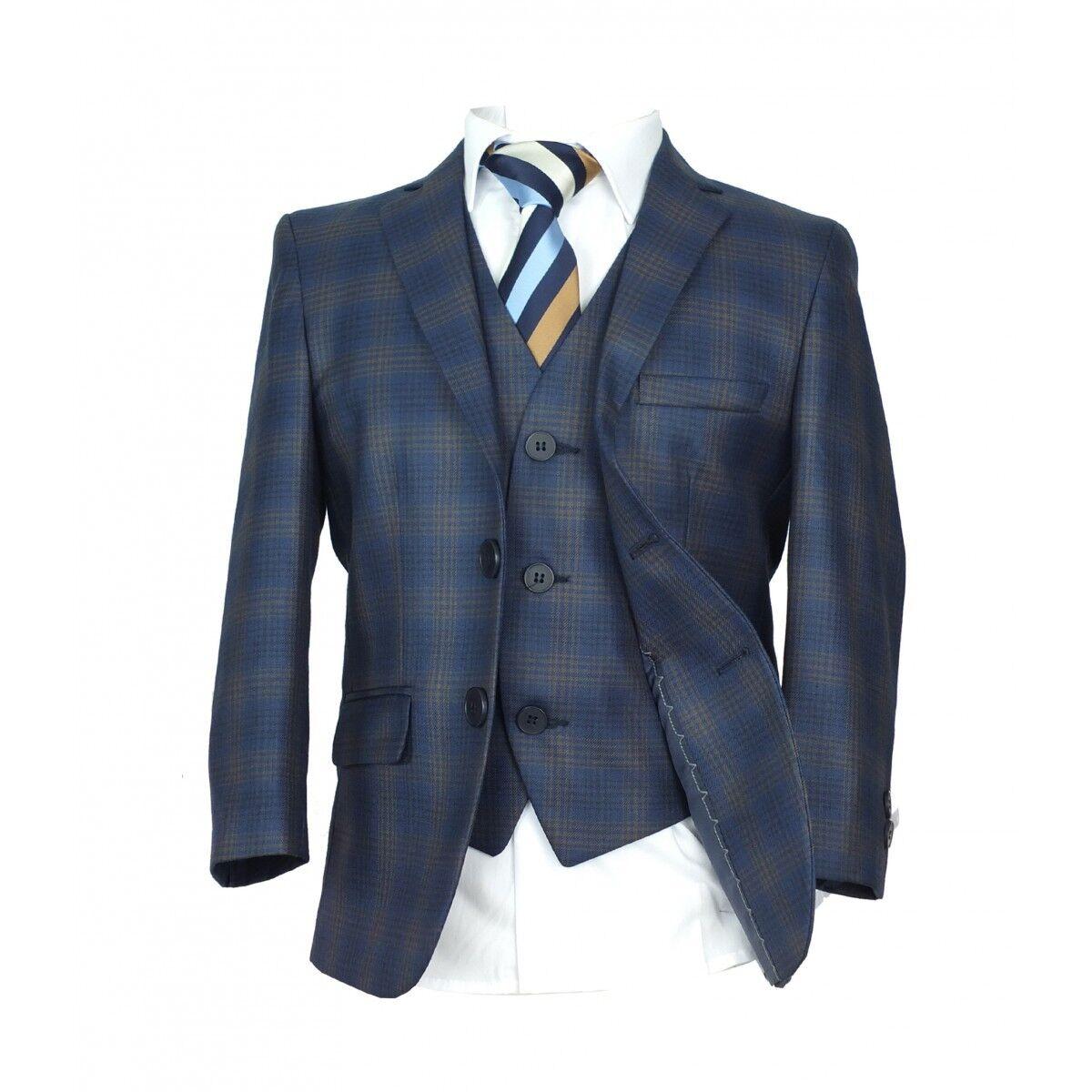 Checkered Blue Gold Page Boy Suit Italian Cut Boys Formal Wedding ...