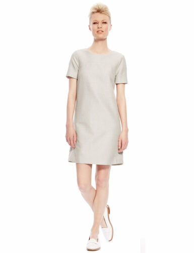 M/&S COLLECTION Best of British Wool Blend Textured Shimmer Shift Dress 10 12 14
