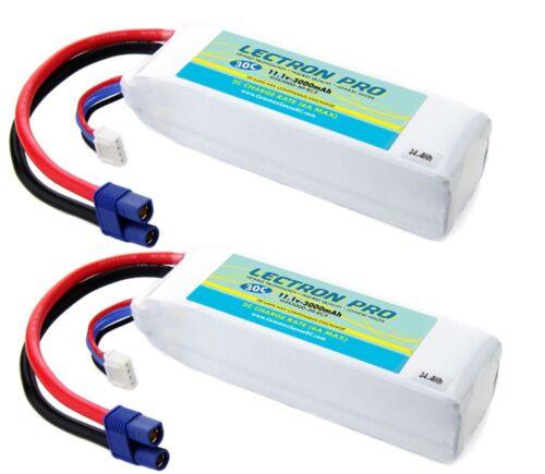 Lectron Pro 11.1v 3000mAh 30C 3S LiPo 2x Battery w//EC3 Blade 450 350QX QX2 QX3