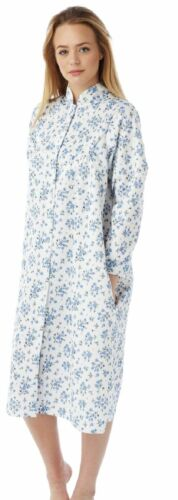 Womens Marlon Lightweight Floral Quilted Button Front Gown House Coat Nightwear