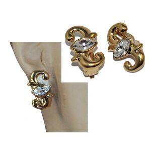 A-France-Boucles-d-039-oreilles-clips-de-couleur-or-cristal-blanc-bijou