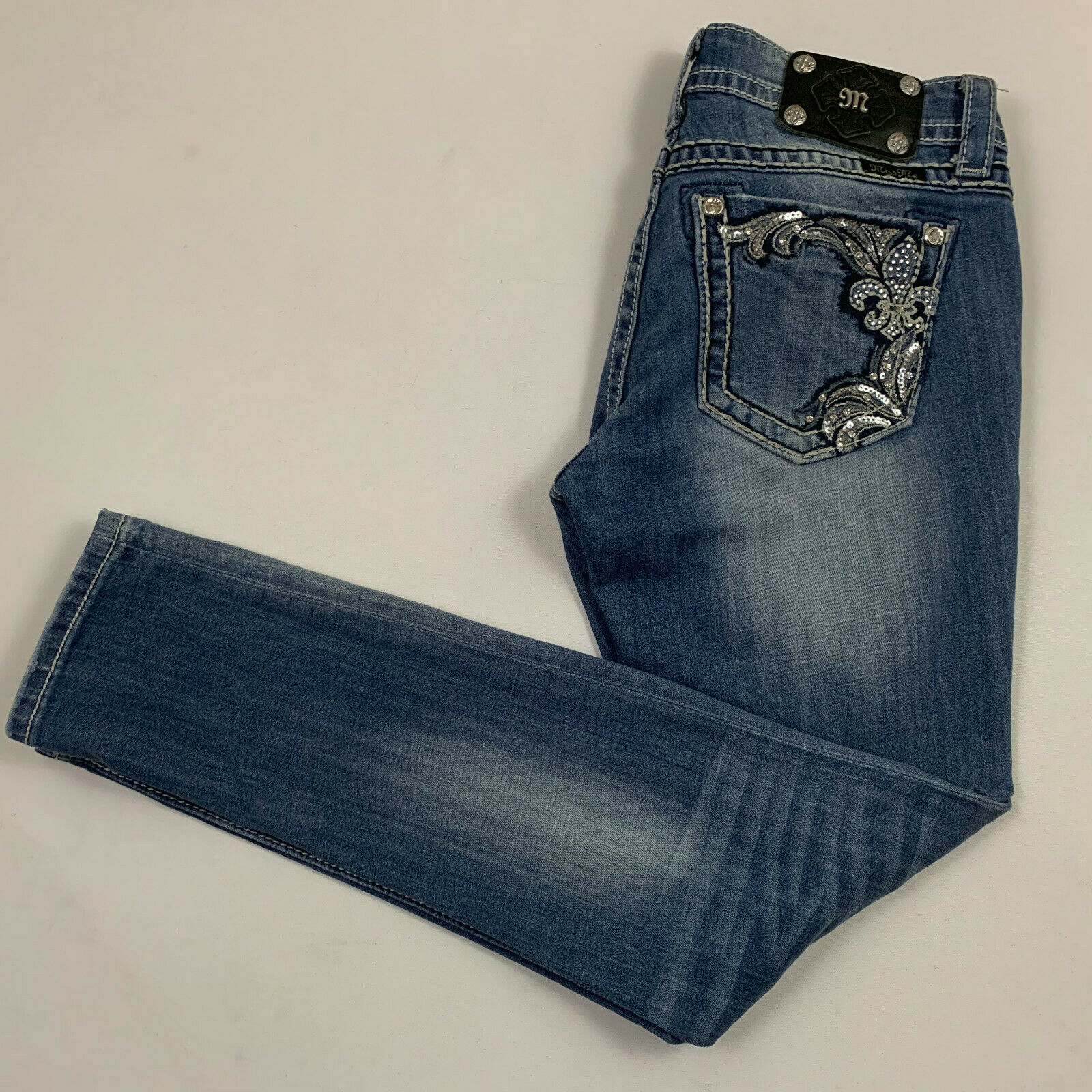 MISS ME womens 28x31 jeans JP5853AK ANKLE SKINNY distressed holes ripped bluee