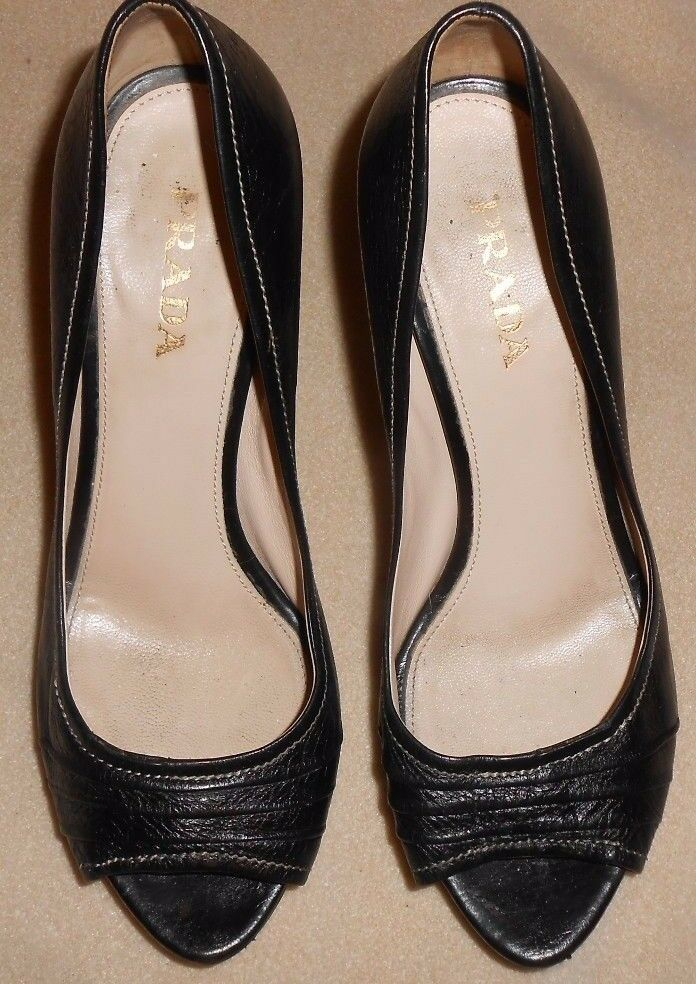 PRADA TOE BLACK LEATHER OPEN TOE PRADA STILETTOS PUMPS SIZE 7.5 7f3826
