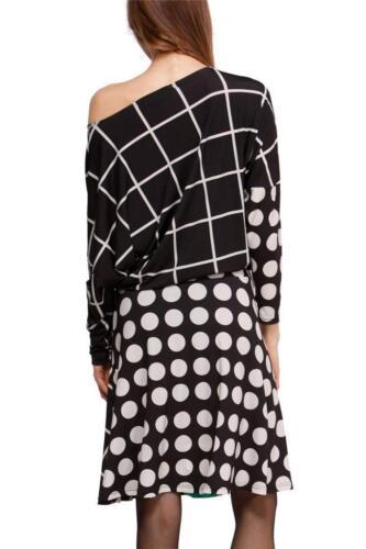 M Stampa Desigual White spalla 12 Black Uk maniche lunghe Dress 8433937604706 Off Gemma gdq0nxdpB