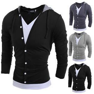 bf2dd5bc6233cc Mens Slim Fit Cotton V Neck Long Sleeve Hooded Casual T-Shirt Tops ...