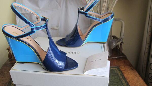 100% Emilio Pucci, patente azul, cuñas de cuero, zapatos 950 uk6 39 bnib