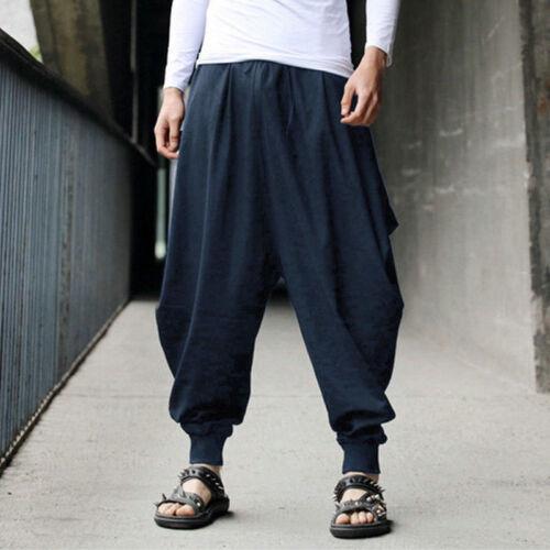 Men Cotton Linen Harem Baggy Pants Japanese Loose Casual Boho Trousers