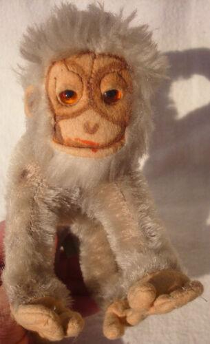 GRISLY Knopf Affe Schimpanse grau altes Plüschtier SPIELZEUG Kuscheltier Teddys