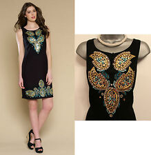 MONSOON Black Angelica Hand Embellished Shift Party Gorgeous Tunic Dress size 8