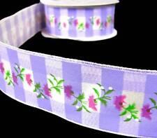 BUY 4 GET 1 FREE 1Yd Spring Pink Vine Flowers Lavender Purple Plaid Wired Ribbon