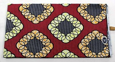 African Circles Diamonds Batik Fabric Africa new BY 1/2 YD fancy wax ethnic p354