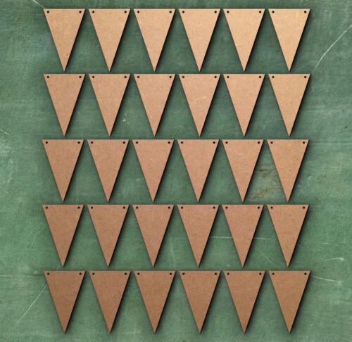 PLAIN Triangle 3 cm Two holes Bunting Laser Cut MDF Craft Blanks Embellishment