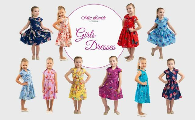 Girls Kids Vintage Style Peter Pan Collar Dresses 5 sizes from Age 3 – 12 years