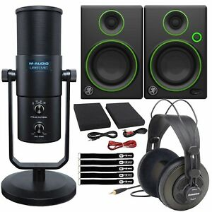 """M-Audio Uber Mic USB Vocal Home Recording Microphone w CR3 3"""" Monitor Speakers"""