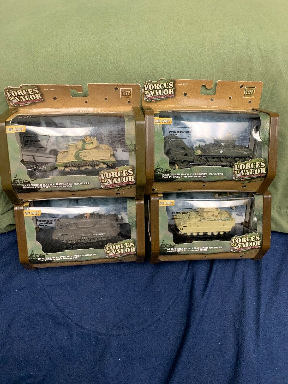 Forces Of Valor 1 72 U.S. U.K. Tank Lot Of 4 Diecast Sealed Unimax Action Series