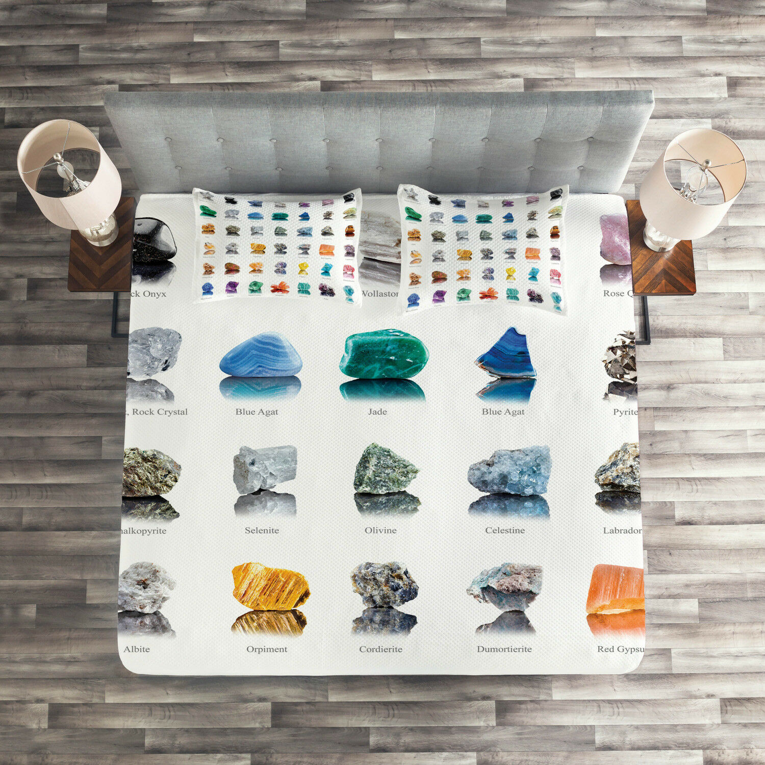 Gemstone Quilted Coverlet & Pillow Shams Set, Mineral Geology Theme Print