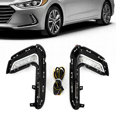 2x Daytime Running Lamp LED Fog Turn Signal light For Hyundai Elantra 17-2018 AD