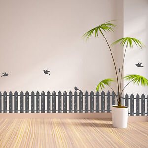 Image Is Loading PICKET FENCE BIRDS Wall Border Decals Decorations Room