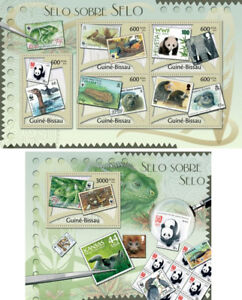 Animals-Tiere-Birds-Fauna-Pandas-Bears-WWF-on-Stamps-Guinea-Bissau-MNH-stamp-set