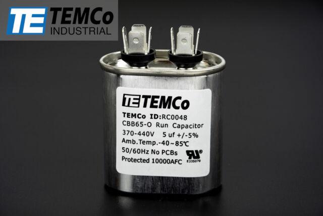 temco 5 mfd uf run capacitor 370/440 vac volts ac motor hvac 5 uf