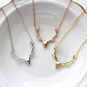 Fashion reindeer deer antler pendant necklace chain best gift image is loading fashion reindeer deer antler pendant necklace chain best aloadofball Images